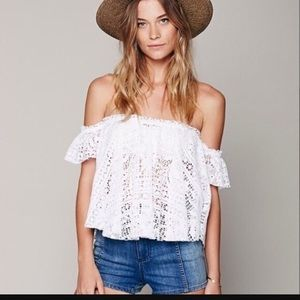 "Free people ""free to be"" eyelet beach top"